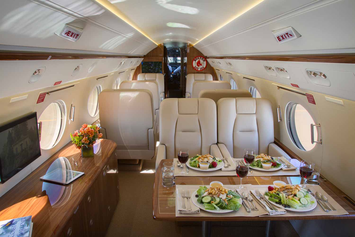 Plane Cabin. Tables served with food